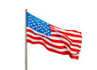 American flag in the wind  on a white background