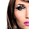 Half face beautiful brunette woman with bright fashion make-up