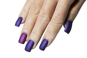 Hand with purple color nail varnish