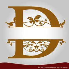 Vector of Letter D in the old vintage style.