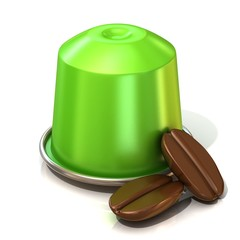 Green coffee capsule with two coffee beans. 3D render, isolated