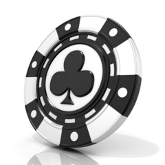 Black gambling chip with club sign on it. 3D render isolated