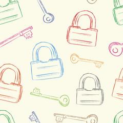 Colorful locks and keys