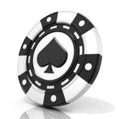 Black gambling chip with spade sign on it. 3D render isolated