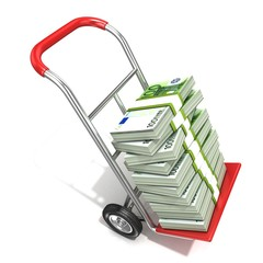 Hand truck with stacks of hundreds euros isolated on white