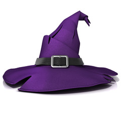 Halloween, witch hat. Purple hat with black belt. Isolated