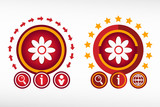 Pictograph of flower on creative background. Red design concept poster