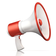 Red and white megaphone, 3D rendering, isolated on white