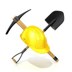 Mining tools, shovel, pickaxe and safety helmet. 3D render