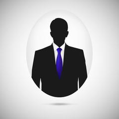 Male person silhouette. Profile picture whith blue tie.