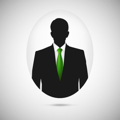 Male person silhouette. Profile picture whith green tie.