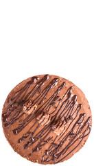 Chocolate cheese cake over white background