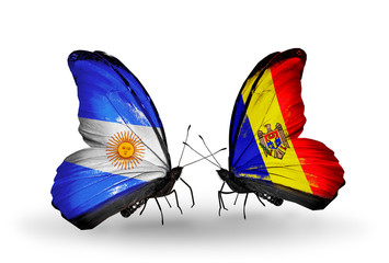 Two butterflies with flags Argentina and Moldova