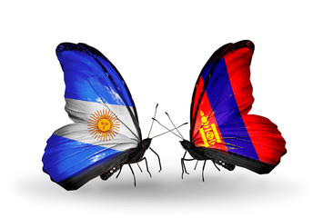 Two butterflies with flags Argentina and Mongolia