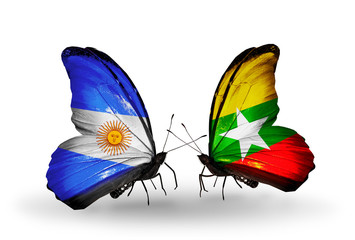 Two butterflies with flags Argentina and Myanmar