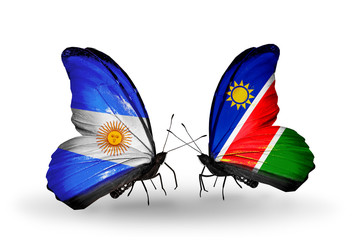 Two butterflies with flags Argentina and Namibia