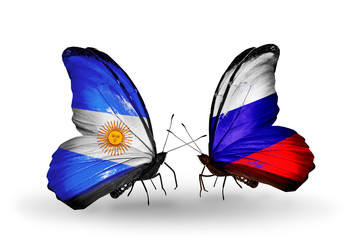 Two butterflies with flags Argentina and Russia
