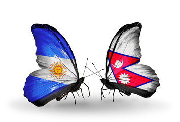 Two butterflies with flags Argentina and Nepal