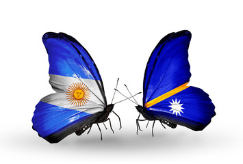 Two butterflies with flags Argentina and Nauru