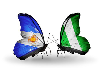 Two butterflies with flags Argentina and Nigeria