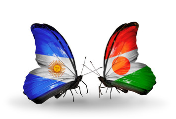 Two butterflies with flags Argentina and  Niger
