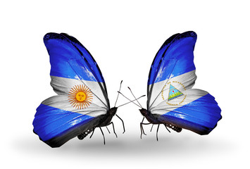 Two butterflies with flags Argentina and Nicaragua
