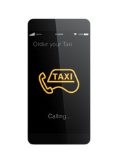 Taxi order app for smart phone concept.