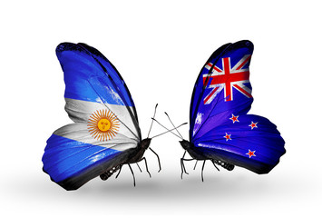 Two butterflies with flags Argentina and New Zealand