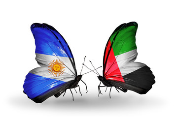 Two butterflies with flags Argentina and UAE