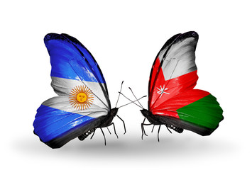 Two butterflies with flags Argentina and Oman