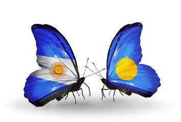 Two butterflies with flags Argentina and Palau