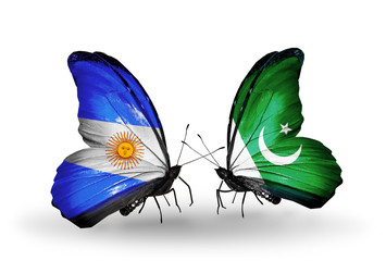 Two butterflies with flags Argentina and Pakistan