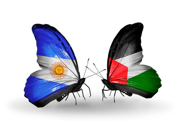 Two butterflies with flags Argentina and Palestine