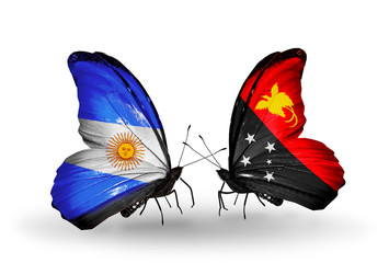 Two butterflies with flags Argentina and Papua New Guinea
