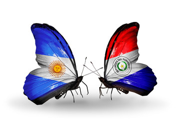 Two butterflies with flags Argentina and Paraguay
