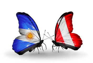 Two butterflies with flags Argentina and Peru