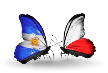 Two butterflies with flags Argentina and Poland