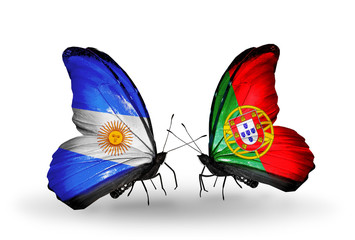 Two butterflies with flags Argentina and Portugal