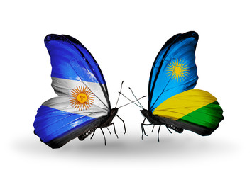 Two butterflies with flags Argentina and Rwanda