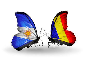 Two butterflies with flags Argentina and Chad, Romania