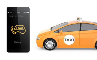 Yellow taxi and smart phone. Mobile taxi order service.
