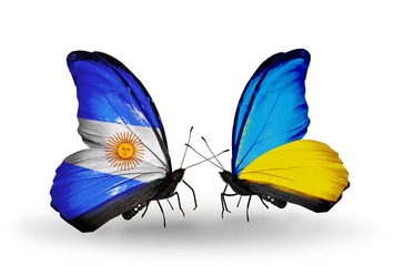 Two butterflies with flags Argentina and Ukraine