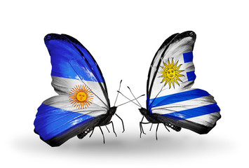 Two butterflies with flags Argentina and Uruguay