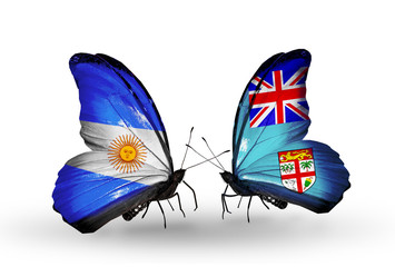 Two butterflies with flags Argentina and Fiji
