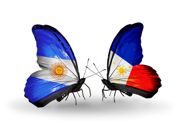 Two butterflies with flags Argentina and Philippines