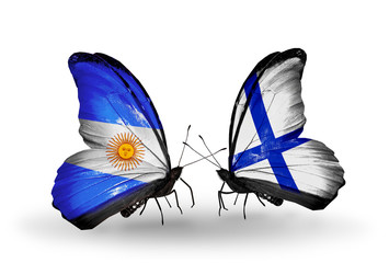 Two butterflies with flags Argentina and Finland