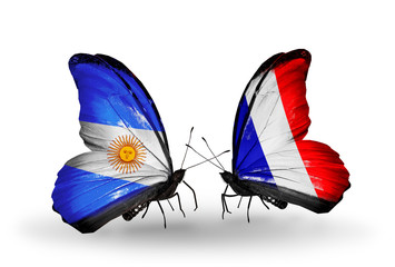 Two butterflies with flags Argentina and France