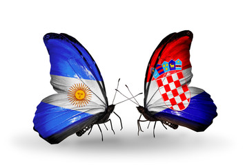 Two butterflies with flags Argentina and Croatia