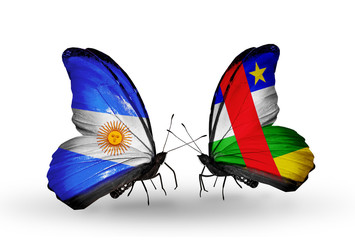 Two butterflies with flags Argentina and CAR