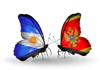 Two butterflies with flags Argentina and Montenegro